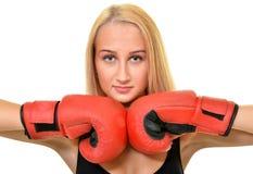 Boxeador de la mujer aislado Fotos de archivo libres de regalías