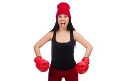 Boxeador de la mujer aislado en el blanco Foto de archivo libre de regalías