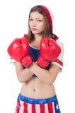 Boxeador de la mujer en uniforme fotografía de archivo libre de regalías