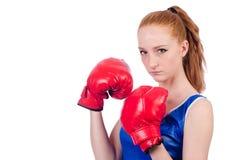 Boxeador de la mujer en uniforme Imagen de archivo