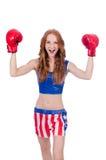 Boxeador de la mujer en uniforme Imágenes de archivo libres de regalías