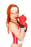 Boxeador de sexo femenino con pimienta de chile Foto de archivo libre de regalías