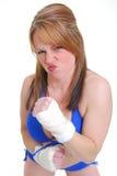 Boxeador de sexo femenino del retroceso Fotografía de archivo libre de regalías