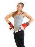 Boxeador de sexo femenino en el blanco Imagen de archivo libre de regalías