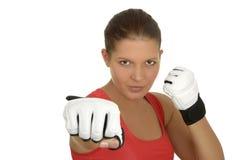 Boxeador de sexo femenino joven Fotografía de archivo