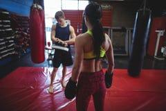 Boxeador de sexo femenino y de sexo masculino que se coloca en estudio de la aptitud Imagenes de archivo