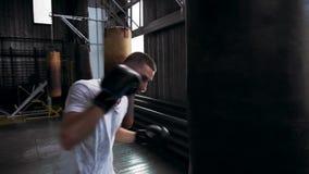 Boxeador de sexo masculino caucásico en camiseta y camisas rojas que se resuelve en el gimnasio Retrocesos y puches practicantes  metrajes