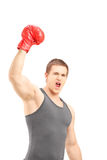 Boxeador de sexo masculino feliz que lleva guantes de boxeo rojos y que gesticula triunfo Fotos de archivo libres de regalías