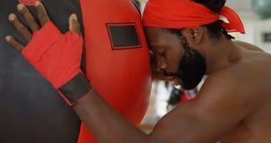 Boxeador de sexo masculino que se relaja en el estudio 4k de la aptitud metrajes