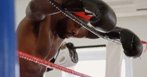 Boxeador de sexo masculino que se relaja en el ring de boxeo 4k metrajes