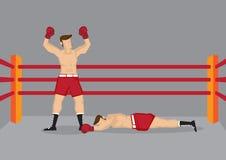 Boxeador del ganador en el encajonamiento de Ring Vector Illustration Foto de archivo libre de regalías