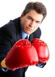 Boxeador del hombre de negocios Imagenes de archivo