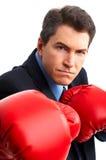 Boxeador del hombre de negocios Fotografía de archivo