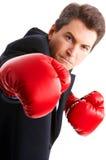 Boxeador del hombre de negocios Foto de archivo