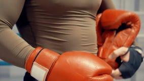 Boxeador del hombre que pone guantes de boxeo rojos antes del entrenamiento de la lucha en el anillo de la caja metrajes