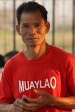 Boxeador del Lao de Muay en un pueblo cerca de Vientianne, Laos Imagen de archivo