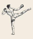 Boxeador del retroceso stock de ilustración