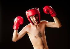 Boxeador divertido aislado Imagen de archivo