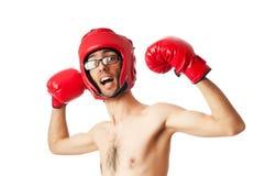 Boxeador divertido aislado Imágenes de archivo libres de regalías
