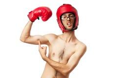 Boxeador divertido aislado imagen de archivo libre de regalías