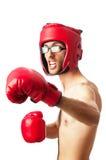 Boxeador divertido aislado Fotografía de archivo