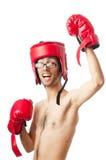 Boxeador divertido aislado Fotos de archivo
