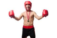 Boxeador divertido aislado Fotografía de archivo libre de regalías