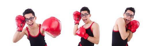Boxeador divertido aislado en el fondo blanco fotos de archivo libres de regalías