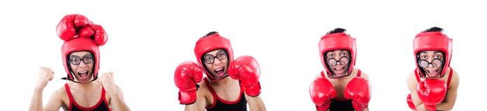 Boxeador divertido aislado en el fondo blanco foto de archivo libre de regalías