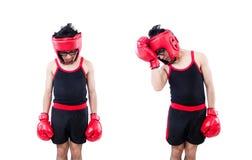 Boxeador divertido aislado en el fondo blanco foto de archivo