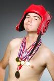 Boxeador divertido con ganar Fotografía de archivo