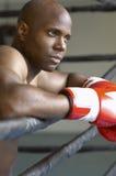 Boxeador en los guantes de boxeo rojos que descansan en anillo Imagenes de archivo