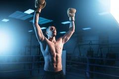 Boxeador en manos de los guantes para arriba en el anillo, visión trasera foto de archivo