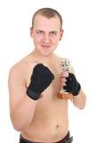 Boxeador feliz con la taza imagen de archivo libre de regalías