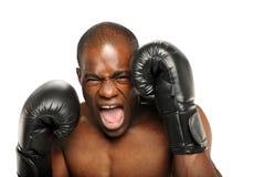 Boxeador joven del afroamericano que grita Imagen de archivo libre de regalías
