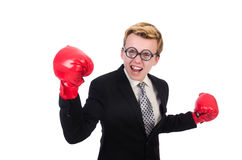 Boxeador joven del hombre de negocios Foto de archivo