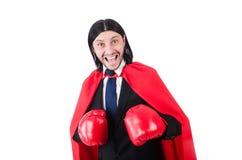 Boxeador joven del hombre de negocios Fotografía de archivo libre de regalías