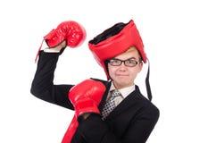 Boxeador joven del hombre de negocios Foto de archivo libre de regalías