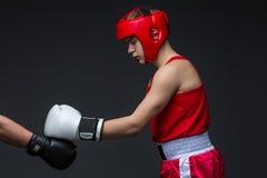 Boxeador joven en forma roja Fotos de archivo