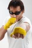 Boxeador joven en la acción Imágenes de archivo libres de regalías