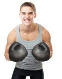 Boxeador joven enojado Imagen de archivo