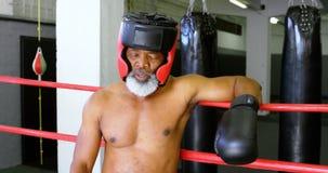 Boxeador mayor que se inclina en el ring de boxeo 4k almacen de metraje de vídeo