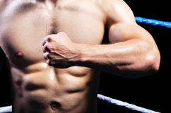 Boxeador muscular de gran alcance en anillo Imagen de archivo libre de regalías