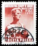 Boxeador, serie europeo de los combates de boxeo del campeonato, circa 1953 imagen de archivo