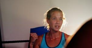 Boxeadores de sexo femenino que obran recíprocamente con uno a durante rotura metrajes