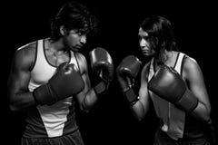 Boxeadores de sexo masculino y de sexo femenino Foto de archivo libre de regalías