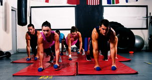Boxeadores que suprimen con pesas de gimnasia almacen de video