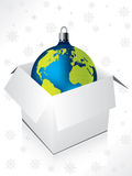 Boxed blue globe decoration Royalty Free Stock Images