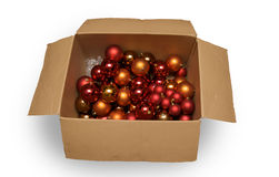 Boxed christmas balls stock photography