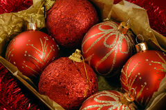Boxed christmas balls Stock Image